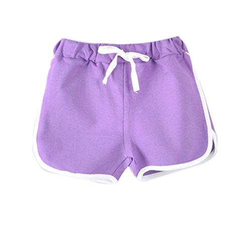 LaoZanA LaoZanA Kinder Jungen Mädchen Kordelzug Sommer Shorts Kurze Hose Hotpants Violett 130