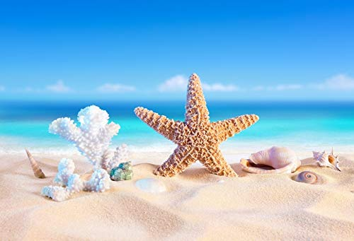 Verano Tropical Mar Playa Arena Estrella de mar Concha Coral Palmas Árbol Niño Vacaciones Foto de Fondo Estudio fotográfico A6 10x7ft / 3x2.2m
