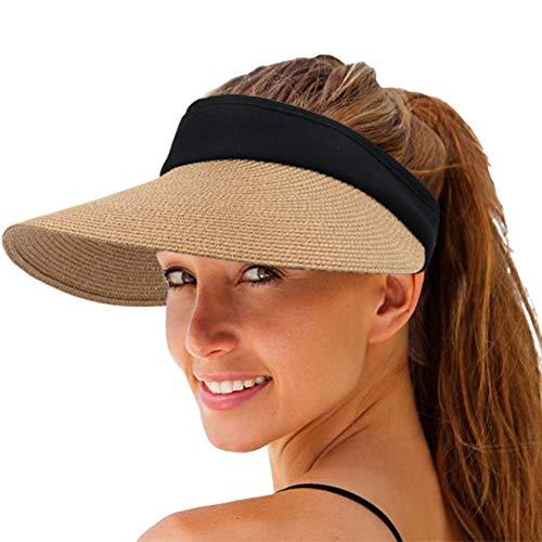 Women Straw Sun Visor Hat Wide Brim Summer UV Protection Beach Cap Foldable Packale Korean Style Khaki