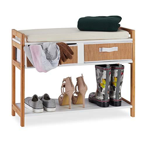 Relaxdays Schuhbank, offene Schuhablage mit Schubladen & Polster, Flur, zum Sitzen, Bambusrahmen, HBT 60x80x30 cm, weiß