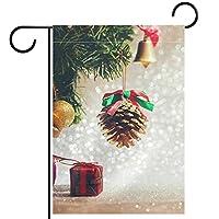 ウェルカムフラワーリースガーデンフラッグヤード両面素敵なクリスマスの要素 パティオ芝生の家の屋外の装飾の春のための庭の花の旗