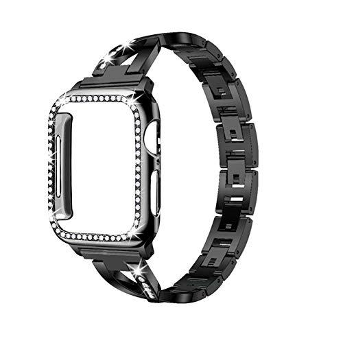 GZMYDF Caja de la Correa + Adecuado para el Reloj de Apple 5/4/3/2/1 Pulsera de Diamante de Cristal de Acero Inoxidable 38 mm 40 mm 42mm 44mm para iWatch Metal Band