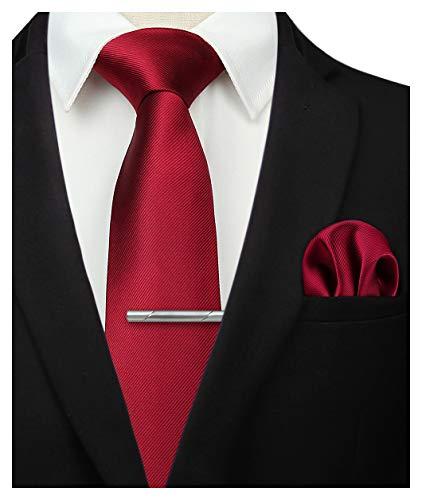 HISDERN Set di fazzoletti da uomo classici con fazzoletto da taschino bordeaux e cravatta per matrimonio