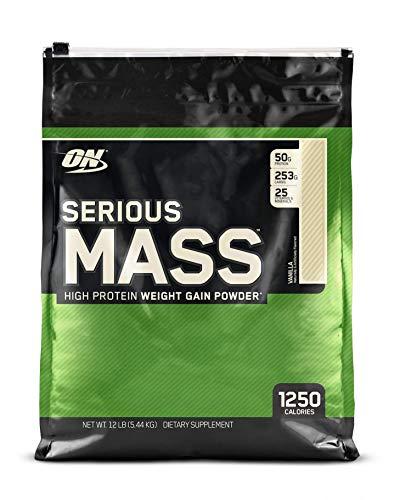 Optimum Nutrition Serious Mass, Con proteine whey in Polvere per Aumentare la Massa Muscolare, Vaniglia, 5.45 kg, 16 Porzioni