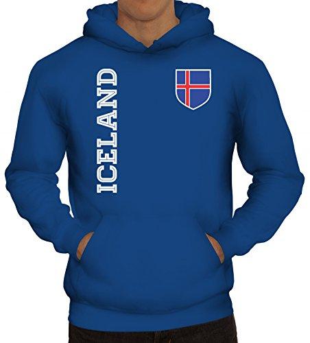 Island Fußball WM Fanshirt Gruppen Herren Hoodie Männer Kapuzenpullover Fan Trikot Iceland, Größe: M,Royal Blau