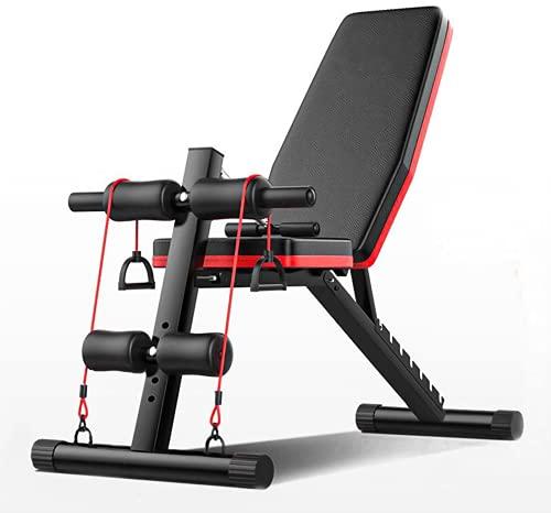 LAZY SPORTS Banco de Pesas Ajustable para Fitness,Banco de Musculación Multifunción para Entrenamiento de Cuerpo Entero, Respaldo abatible, diseño Compacto, Antideslizante. (Modelo A).