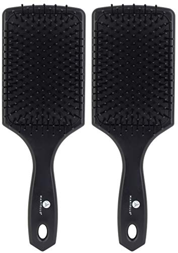 Mantello Wet Dry Detangle Paddle Hair Brush - (Black, 2 Pack) - Exclusive Ultra-Soft Bristles - Glide Through Tangles with Ease for All Hair Types - for Women, Men, Wet and Dry Hair