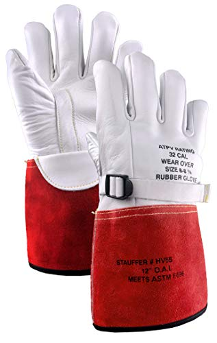 Stauffer High Voltage Cowhide Electrical Glove Protectors | 32 Cal/cm2 ATPV Rating, Red/White Color, Gauntlet Cuff - Extra Large (1 Pair)
