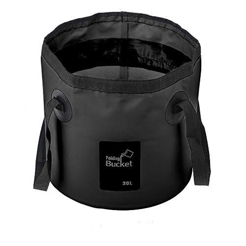 Mostfun - Cubo de agua plegable plegable para acampar al aire libre, cubo plegable portátil para viajes, camping, picnic, senderismo pesca (negro, 20 L)