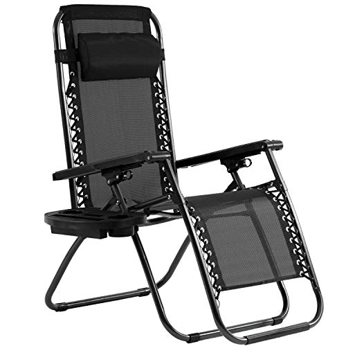 Zero Gravity Chair Patio Chairs Lounge Patio Chaise 1 Pack Adjustable Reliners for Pool Yard with Cup Holder (Black)