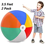 Inflatable Beach Balls Jumbo 42 inch for The Pool, Beach, Summer Parties, and Gifts | 2 Pack Blow up Rainbow Color Beach Balls (2 Balls) (42 inch)