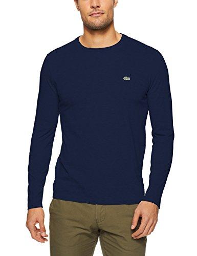 Lacoste Men's BASIC CREW NECK LS PIMA TEE, Navy Blue, 08F