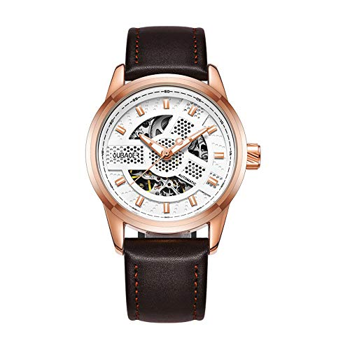 Personalised Mens Wrist Watches Automatic Mechanical Skeleton Watch Analog Chronograph with Leather Strap Illuminated Dial for Gents Casual Decoration