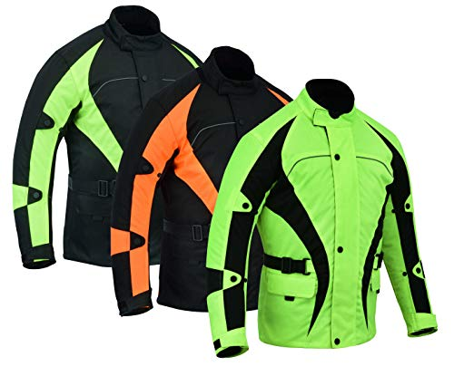 Warrior Gears® Chaqueta de equitación para hombre, chaqueta textil de carreras de motociclismo, camiseta de alta visibilidad con armadura CE   Chaquetas impermeables para hombre