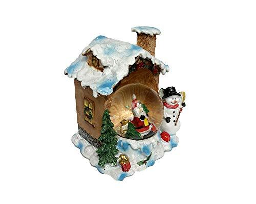 Palla di Neve Ampolla Natalizia con Casetta Scenario con Luci LED Babbo Natale 13 x 11 x 10 cm Fair