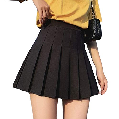 High Waisted Pleated Skirt for Women Girl Basic Versatile Stretchy Mini Skater Tennis School Skirt (Black, M)