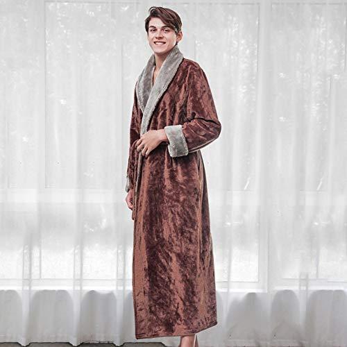 Lovers Dicker Warmer Winterbademantel Herren Weich Wie Seide Extra Lange Kimono Bademantel Männliches Morgenkleid Für Herren Flanellroben M Coffeemen