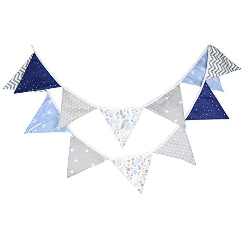 Prosperveil 10.5ft Bunting Banner Flags Fabric Vintage Triangle Flag Pennant Garland for Kids Bedroom Outdoor Birthday Wedding Party Decorations (Blue and Grey)