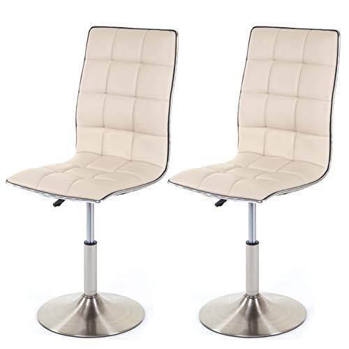 Mendler 2X Esszimmerstuhl HWC-C41, Stuhl Küchenstuhl, höhenverstellbar drehbar, Fuß gebürstet, Kunstleder ~ Creme