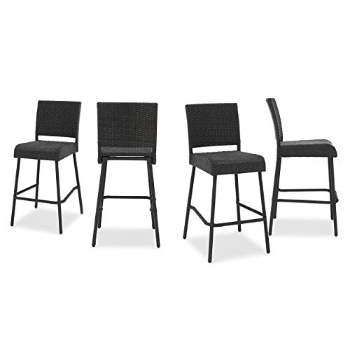 Christopher Knight Home Neal Outdoor Wicker Barstools, 4-Pcs Set, Dark Brown