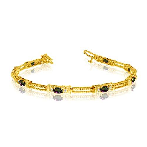 10K Amarillo Oro natural topacio y diamante tenis pulsera