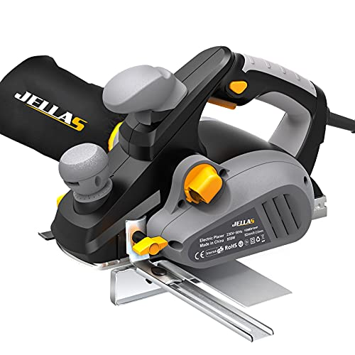 JELLAS Planer, 16,000rpm 850W Electric Planer with 82mm Width and 3mm Depth, Kickstand, 2 Rubber Belt and Carbon Brushes, Parallel Fence Bracket and Dust Bag