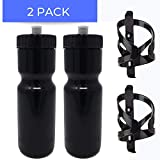 50 Strong Bike Bottle Holder with Water Bottle - 2 Pack - 22 oz. BPA Free Bicycle Squeeze Bottle and Durable Plastic Holder Cage- Made in USA (Black)