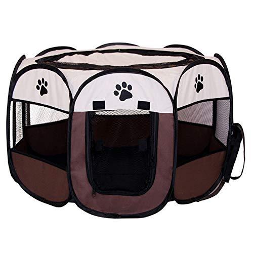 GSDJU Reisen,Sicheren,Park,Garten,leicht,Haustierzelthäuser Tragbare Zwinger im Freien Zäune für kleine große Hunde Faltbarer achteckiger Laufstall Käfig Hundekiste Kreißsaal