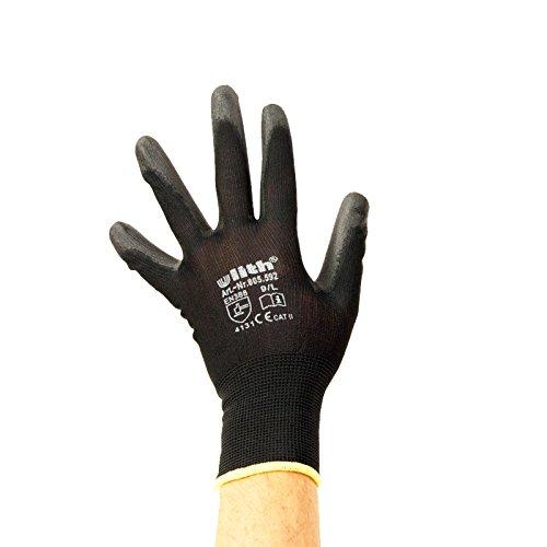 Feinstrick Montagehandschuhe Nylon PU Beschichtung, Arbeitsschutz Handschuhe (Größe 9/L)