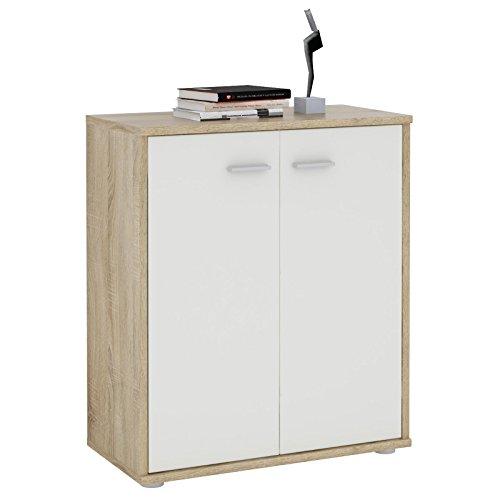 CARO-Möbel Kommode Sideboard Schrank Tommy Sonoma Eiche/weiß, Anrichte mit 2 Türen inklusive Einlegeboden