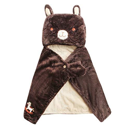 EVFIT Capa con capucha para niñas de otoño e invierno para cobertura y colcha de cobertura, manta, chal cálido, oso marrón (color: marrón, talla: F)