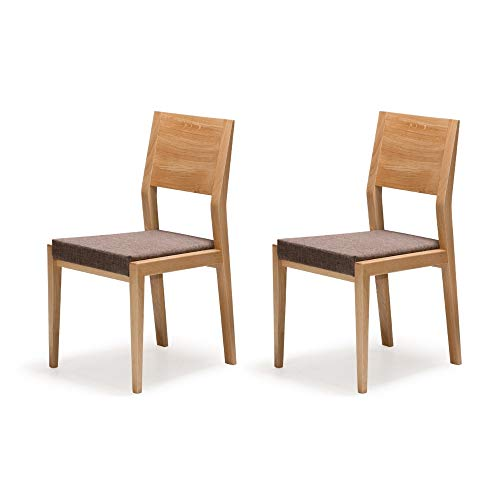 Alkove - Hayes - Set de 2 sillas de comedor de madera maciza con asiento tapizado (roble salvaje)
