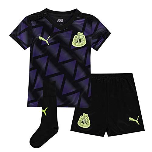PUMA Kinder Newcastle United Third Baby Kit Shorts T Shirt Lila/Schwarz 6-9 Monate