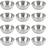 Lomodo 12 Pack Stainless Steel Sauce Bowls Round Seasoning Dishes Mini Saucers Dishes Sushi Dipping Bowel Appetizer Plate (3.23 inch x 1.18 inch x 2.05 inch)