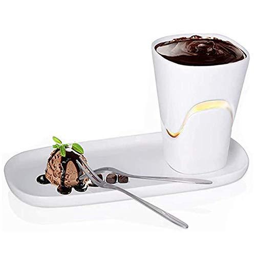 YUSDP Persönliches Schokoladenfondue-Becherset - 120 ml Keramik-Servierfondue-Becher mit Tablett, Mikrowellengeschirrspüler Sicher für Käse, EIS