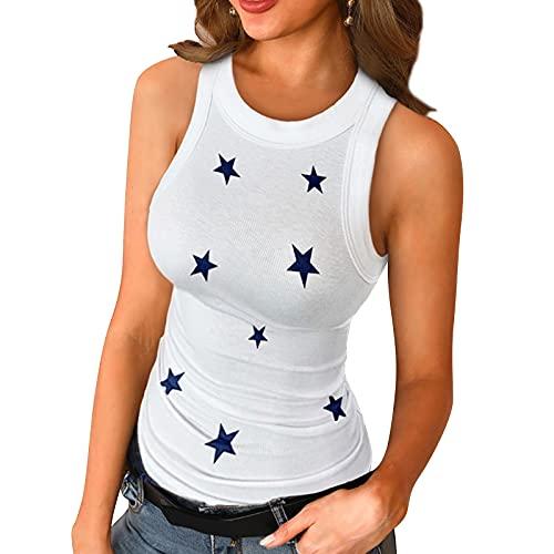 Camiseta sin Mangas Verano para Mujer Estampado de Estrellas Relajado con Espalda Cruzada Mujer Deportivas Sexy Ropa de Fiesta Camiseta sin Mangas para Yoga