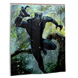 Black Panther Series Movies Shower Curtain Chadwick Boseman Shower Curtain Bathroom Mildew Proof Durable Waterproof Home Decoration 60x72 Inch Bathroom Accessories with Hooks