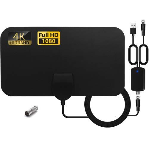 Antenna TV interna, antenna TV digitale HD da interno con amplificatore di segnale fino a 120 km dalla portata, supporto UHF 4K 1080P HD VHF per canali locali.