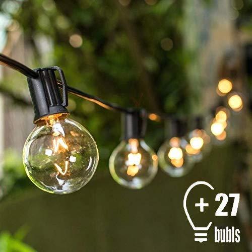 Tomshine G40 Lichterkette für draußen, 25 Glühlampen, Lichterkette, ideal für Weihnachten, 2 Ersatzbirnen