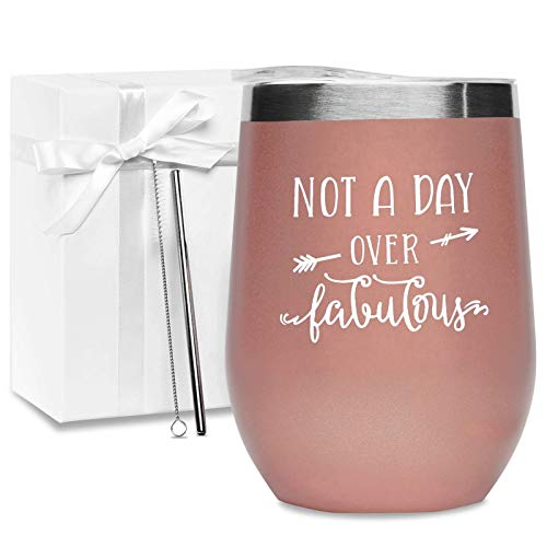 Not A Day Over Fabulous - Wine Tumbler (Rose Gold)