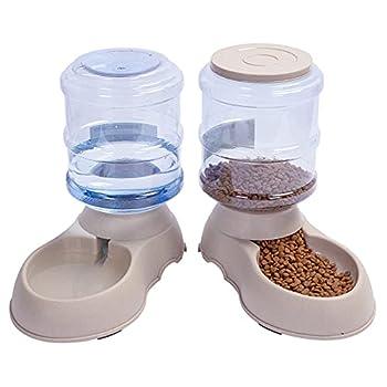 YGJT Distributeur de Nourriture/Eau Fontaine Automatique-3.75Lx 2 Pièces- Alimentation pour Chien/Chat/Croquettes Accesoires Gamelle Animaux Domestiques (Pas Besoin de Batterie)