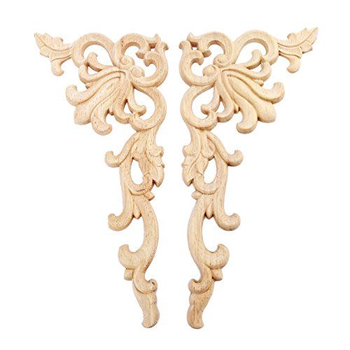 MUXSAM 2pcs Bois sculpté d'angle Grand Format Applique Cadre Sculptée en Bois de Style Européen Onlay Non Peinte Droite+Gauche(Chaque 1pcs)