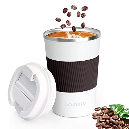 Tasse à café, MOMSIV Thermos Café Mug isotherme 380ml En acier inoxydable Antidérapant Double paroi Isolé sous vide Anti-fuite avec couvercle Tasse de Voyage, Mug à café Portable, Blanc et Marron