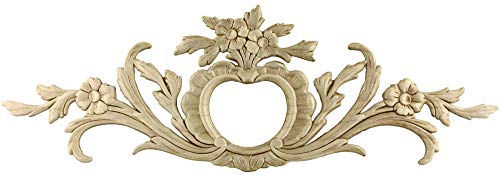 Flowers Large Birch Wood Applique - 19 1/4' x 6 1/2' - Onlay Antique & Modern Furniture Doors, Walls Carved Ornamental Decor | G10-3360