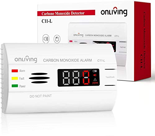 ONLIVING CO Melder 10 Jahren, Kohlenmonoxid Warnmelder mit LED Display, Präziser 360°-Sensor und Prüftaste, Batterie austauschbar, Zertifiziert nach EN 50291, C11-L