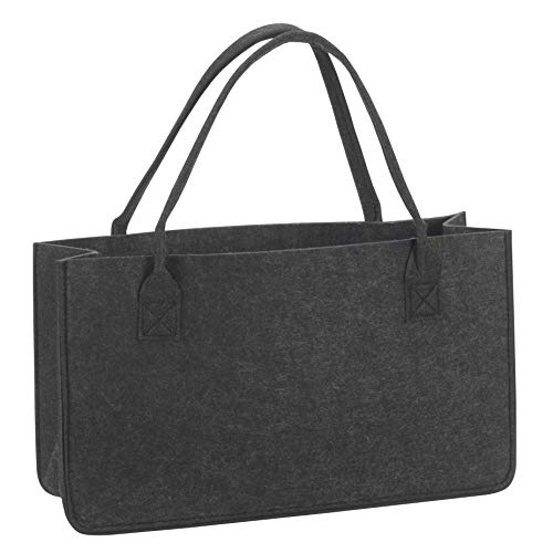 TERRA SELL Premium Filztasche, Einkaufskorb - Brennholz Tasche für unterwegs und Zuhause - Tragetasche, Henkeltasche, Einkaufstasche 45x15x26cm grau