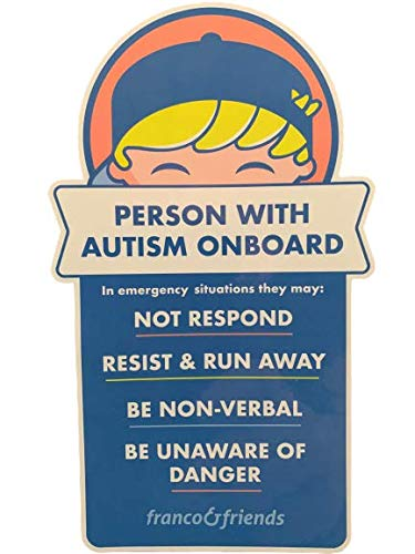 Franco & Friends 2-Pack Autism Awareness Bumper Sticker Car Decal in Case of Emergency Alerts First Responders Verbal or Nonverbal Person with Autism On Board for Car Windows Trucks SUV Vans