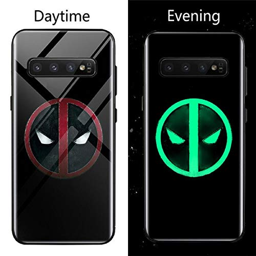Luminous Glass Case Venom Super Hero Black Panther Iron Man for Samsung Galaxy S8 S9 S10 e Plus Note 9 8 Fashion Luxury Eye-Catching Phone Cover (Deadpool, Samsung Note 9)