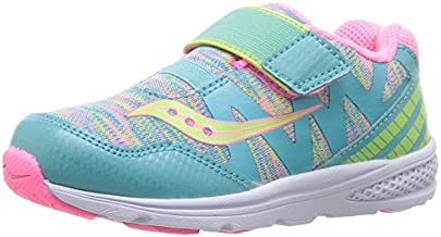 Saucony Baby Ride Pro Running Shoe (Toddler/Little Kid), Turquoise/Multi, 6 M US Toddler