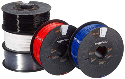 Amazon Basics 3D-Drucker-Filament aus PETG-Kunststoff, 1,75 mm, 5 verschiedene Farben, 1 kg pro Spule, 5 Spulen